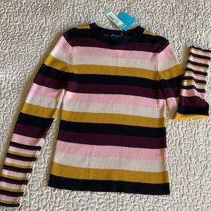 NWT Faith&Zoe Striped FittedRibPullover Sweater